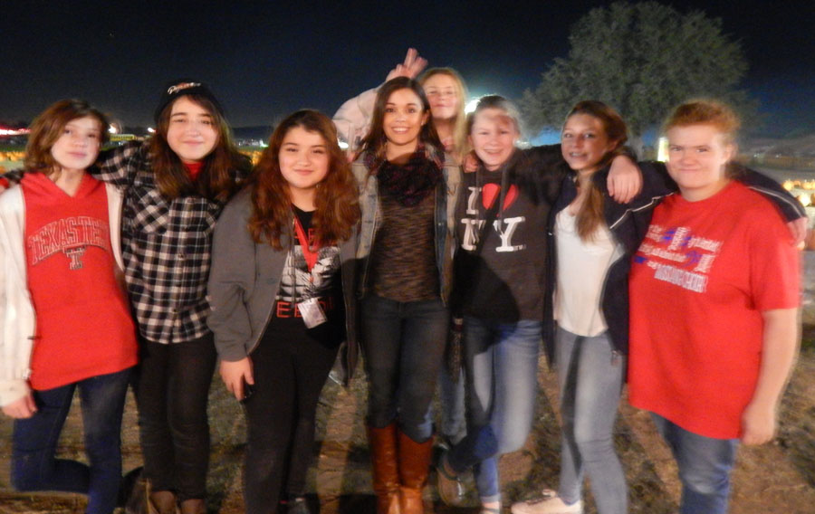 Choir students pose during their field trip to the pumpkin patch
